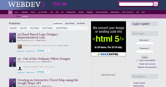 Web development social bookmarks