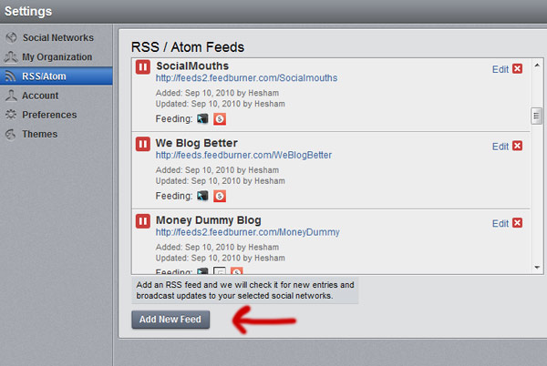 hootsuite add new feed