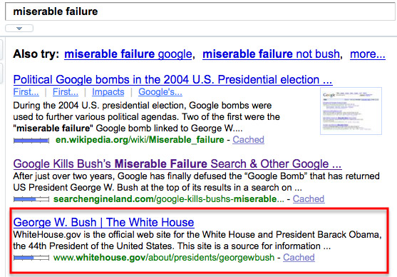 bush yahoo miserable failure