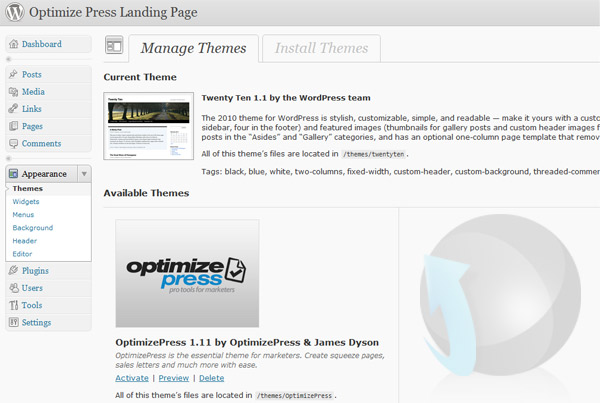 Installing OptimizePress WordPress theme