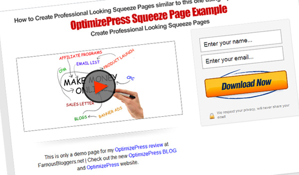 Optimizepress theme squeeze pages templates famous bloggers for Wordpress squeeze page template
