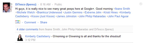 How to mention someone in the Google Plus Network