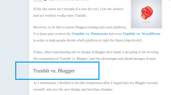 Tumblr vs. Blogger H1
