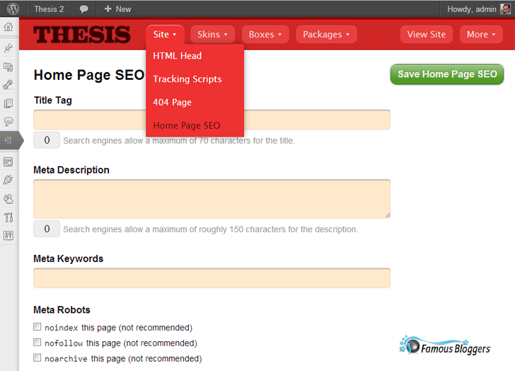 Thesis Home Page SEO
