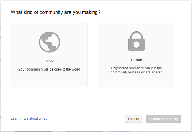 google plus community setup public private