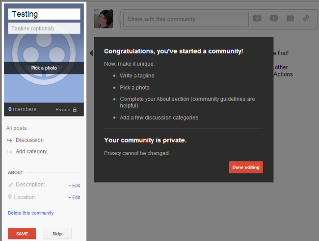 google plus community setup