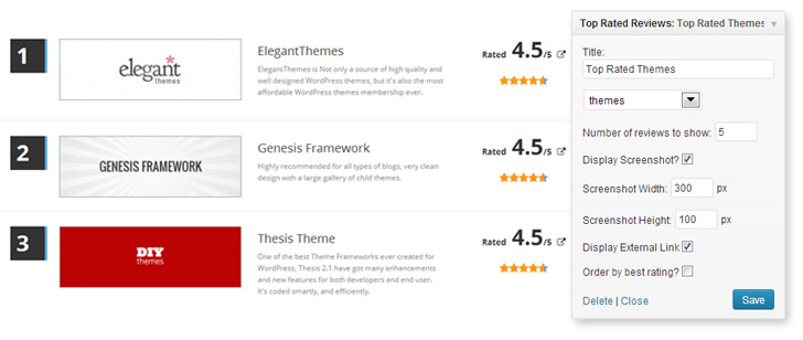 WordPress Top Rated Reviews Widget