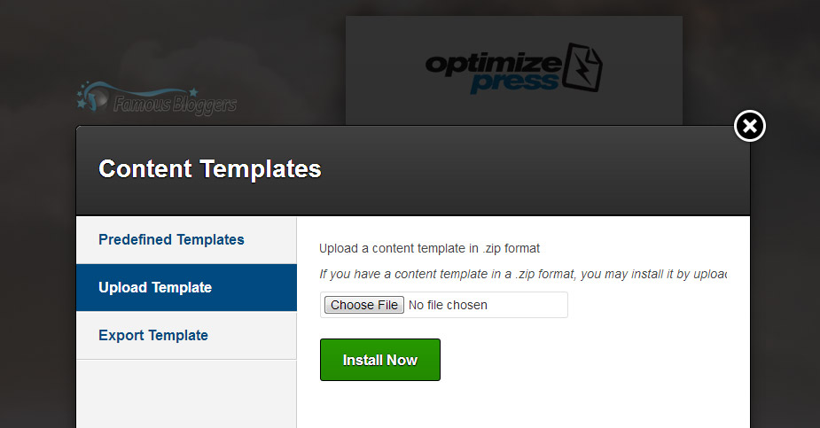 OptimizePress Templates export and import